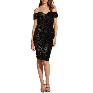 Bardot Sequin Velvet Off the Shoulder Dress M